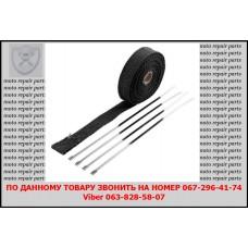 Термолента для глушителя, (1,5 мм /25 мм), длина 5 м. с хомутами из нержавеющей стали, черная.