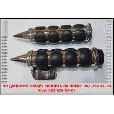 Ручки на руль 25мм, JB Л+П( хром + резиновые накладки) с флажком.