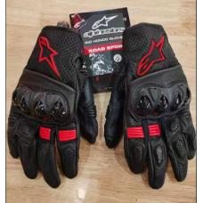 Перчатки с пальцами (КОЖА + вставка) ALPINSTAR черный-красный XL