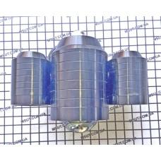 ЛАМПА ЛИНЗА U6 (1большая+2маленьких)  в мет. корпусе ЧЕРНЫЙ